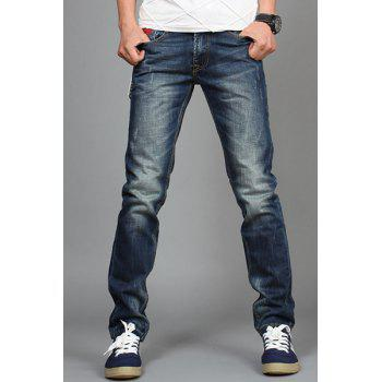 Laconic Zipper Fly Pocket Embellished Slimming Bleach Wash Straight Leg Men's Jeans