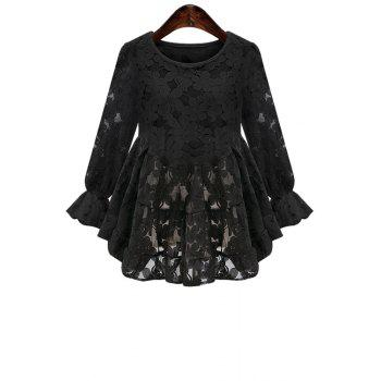 Sweet Style Jewel Neck Floral Pattern Ruffle Lace Long Sleeve Shirt For Women