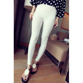 Stylish Women's High Waist Lace Splicing Pencil Pants