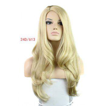 Europe Style Side Bang Fluffy Long Loose Wavy Kanekalon Women's Synthetic Blonde Wig -  GOLDEN