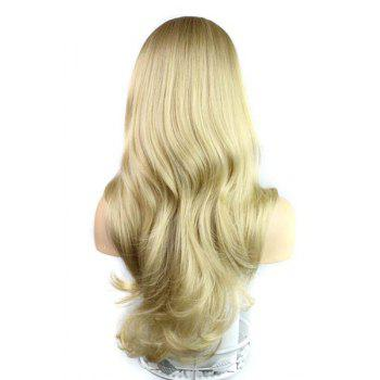Perruque synthétique Blonde Style de l'Europe Side Bang Fluffy longues loose Wavy Kanekalon Femmes - Or