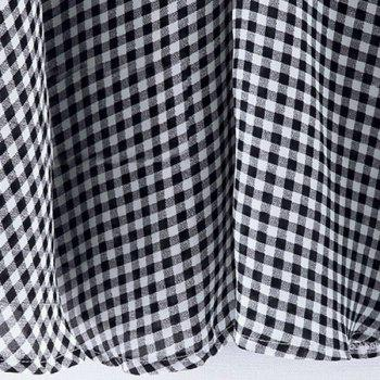 Plus Size Stand Up Collar Plaid Loose Fitting Blouse - WHITE/BLACK 2XL