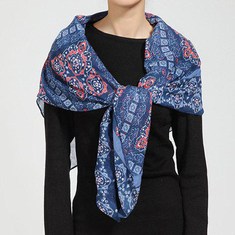 Chic Retro Ethnic Print Color Block Women's Voile Scarf - CADETBLUE