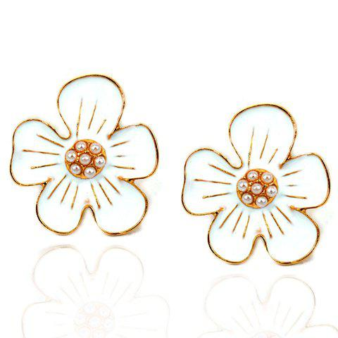 Pair of Sweet Faux Pearl Decorated Floral Women's Earrings - WHITE