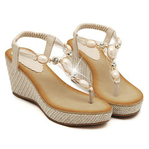 Trendy Flip-Flop and Beading Design Sandals For Women - OFF WHITE 39
