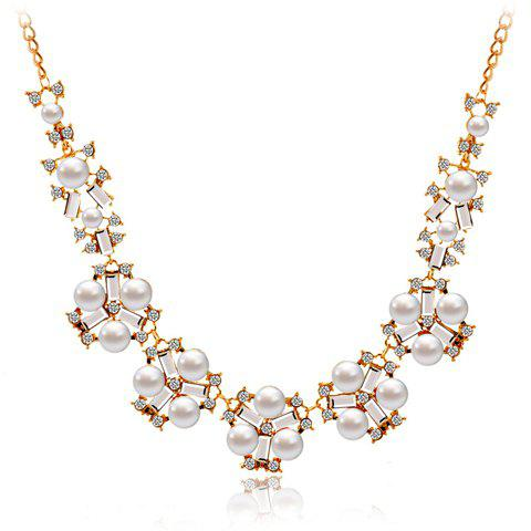 Rhinestone Embellished Faux Pearl Floral Necklace - GOLDEN