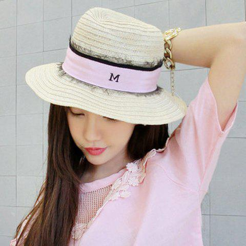 Chic Strap and Lace Embellished Women's Straw Hat - BEIGE