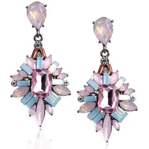 Pair of Colorful Rhinestone Drop Earrings For Women -  PINK