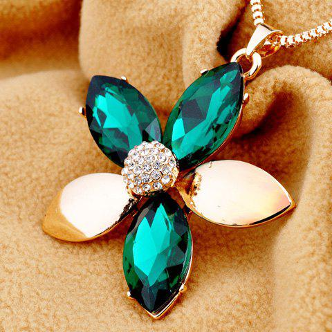 Sweet Rhinestone Embellished Floral Women's Sweater Chain - GREEN