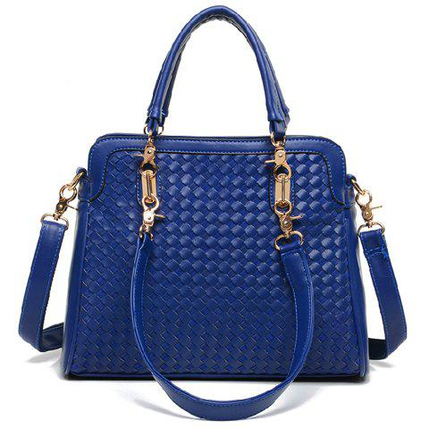 Elegant Weaving and Zip Design Tote Bag For Women - BLUE