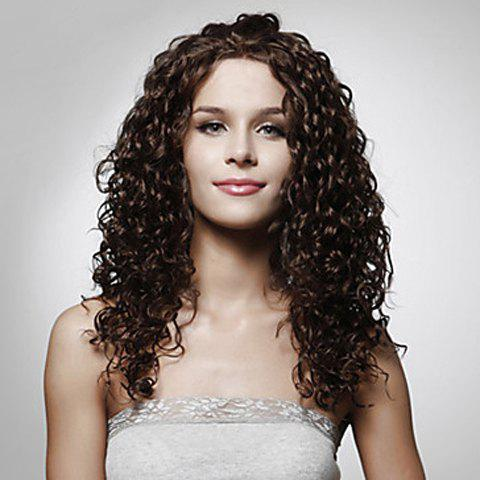 Fashionable Dark Brown Synthetic Long Trendy Curly No Bang Women's Wig - DEEP BROWN