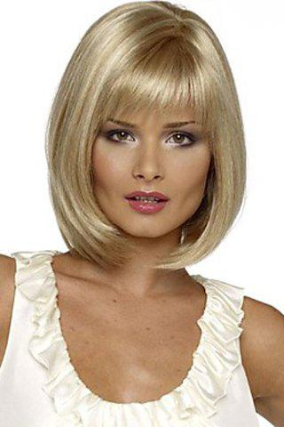 Charming Short Straight Silver Blonde Synthetic Women's Wig With Full Bang - GOLDEN