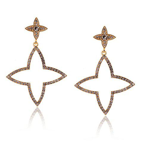 Pair of Cute Rhinestone Openwork Stars Earrings For Women - COPPER COLOR