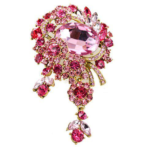 Alloy Rhinestone Flower Brooch - COLOR ASSORTED