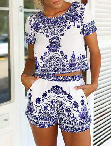 Vintage Short Sleeve Scoop Neck Blouse + Printed Shorts Women's Twinset - BLUE/WHITE M