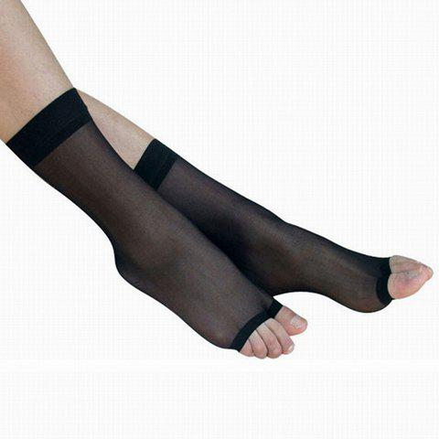 2 Pairs of Chic Solid Color Ultrathin Women's Fingerless Socks - BLACK