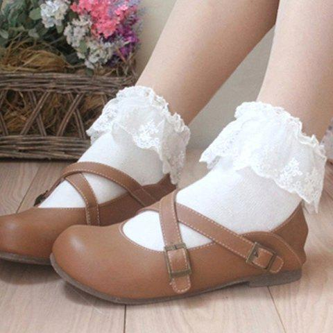 Pair of Chic Lace Edge Candy Color Women's Socks