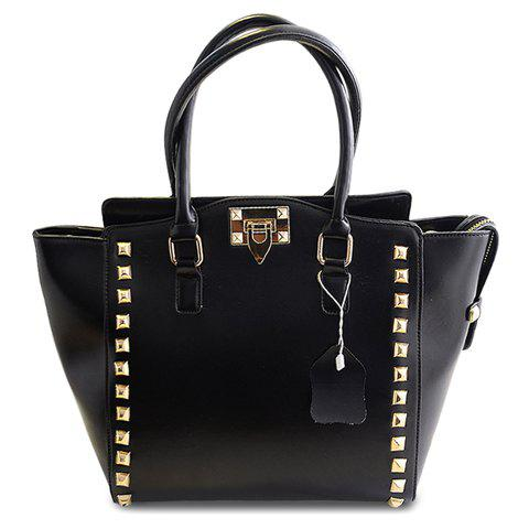 Stylish Hasp and Rivets Design Tote Bag For Women -  BLACK