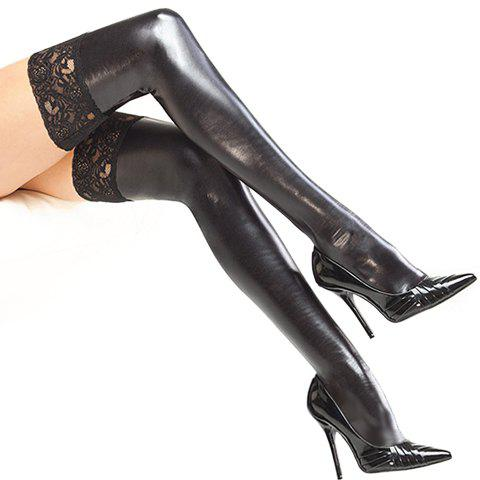 Pair of Chic Lace Edge Faux Leather Women's Stockings - BLACK