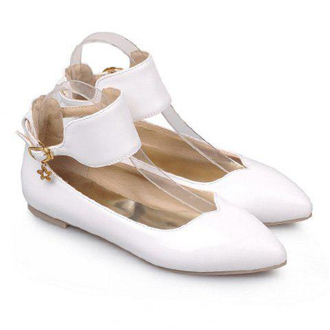 Sweet Ankle Strap and Pointed Toe Design Women's Flat Shoes - WHITE 38