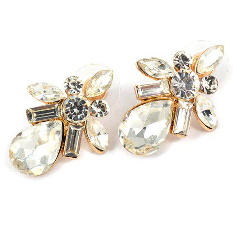 Pair of Exquisite Rhinestone Embellished Water Drop Shape Women's Earrings - WHITE