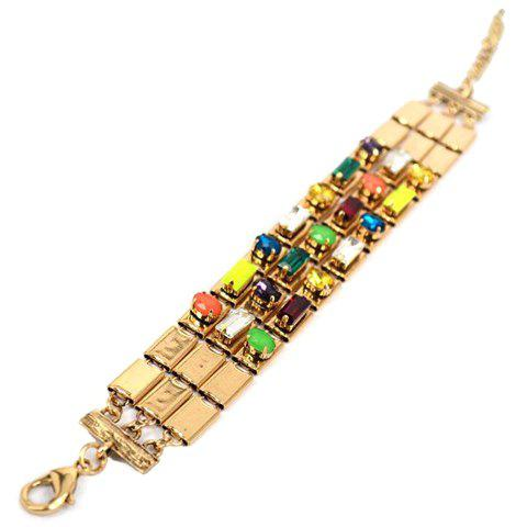 Rhinestone Embellished Multi-Layered Square Bracelet - COLORMIX