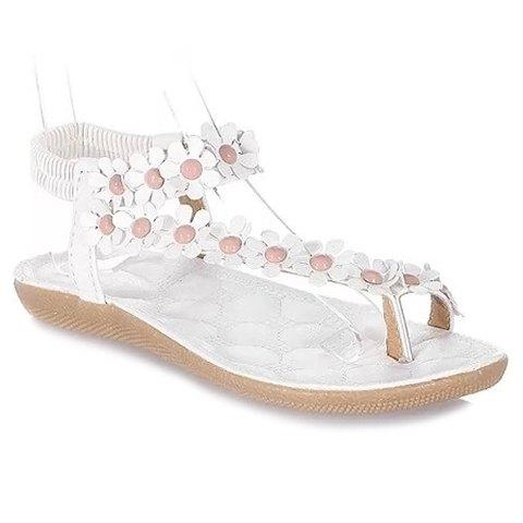 Sweet Elastic and Flowers Design Sandals For Women - WHITE 39
