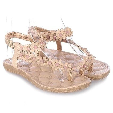 Sweet Elastic and Flowers Design Sandals For Women - BEIGE 36