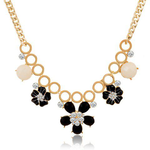 Hyperbolic Rhinestone Beads Flower Necklace For Women - BLACK