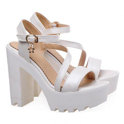 Trendy Platform and Chunky Heel Design Women's Sandals - WHITE 36