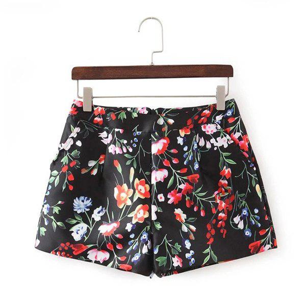 Casual Style Straight Leg Mid-Waisted Floral Print Women's Shorts - RED/BLACK S