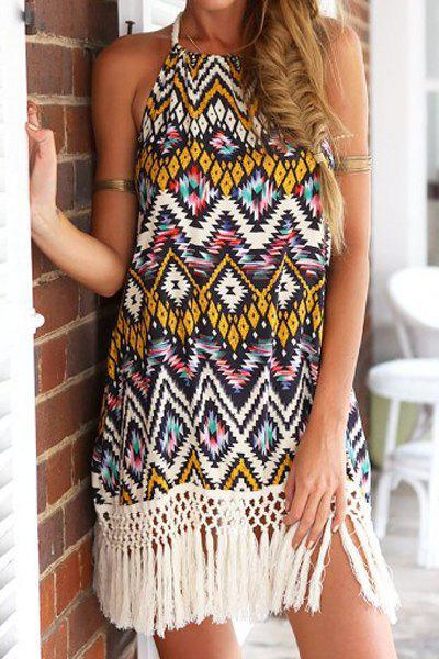 Bohemian Floral Print Halter Fringe Splicing Sleeveless Dress For Women - COLORMIX M