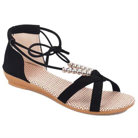 Fashionable Solid Color and Beading Design Sandals For Women - BLACK 39