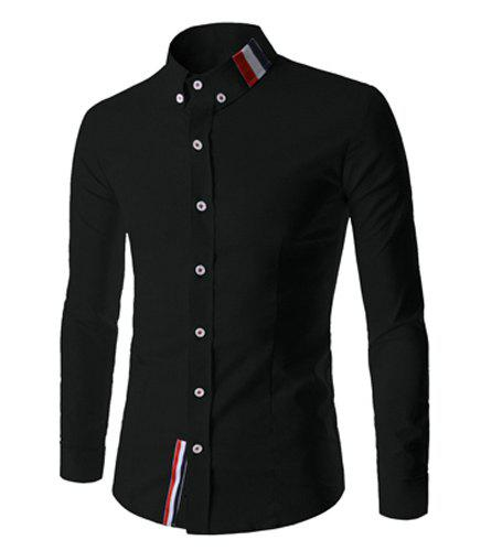 Fashion Buttons Design Stripes Splicing Shirt Collar Long Sleeve Slimming Men's Polyester Shirt - BLACK L