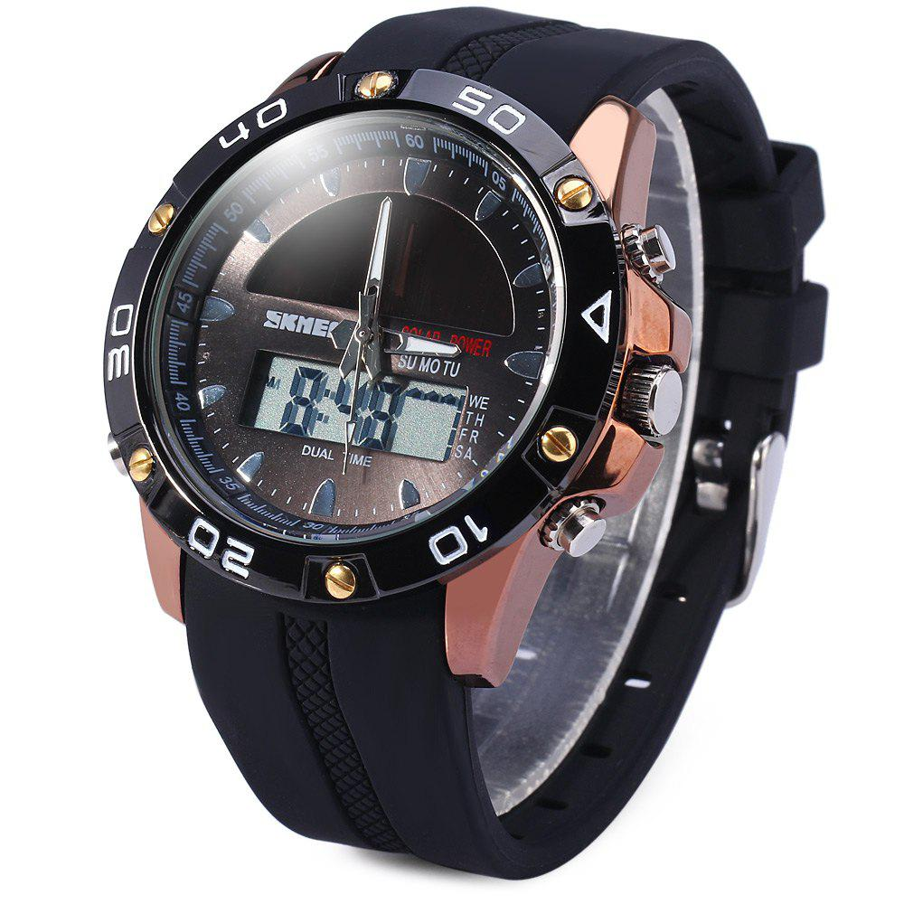 Skmei 1064 Solar Power Army LED Watch Date Day Alarm Dual-movt Water Resistant Military Wristwatch for Sports skmei 0921 led digital quartz watch water resistant day date display alarm