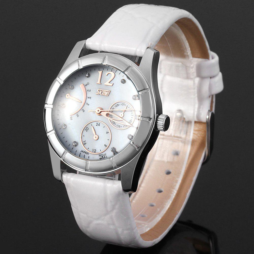Skmei 6911 Water Resistant Women Quartz Watch Japan Movt Leather Strap Round Dial - WHITE
