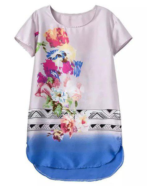 Stylish Floral Print Round Collar Asymmetrical Short Sleeve Dress For Women - COLORMIX M