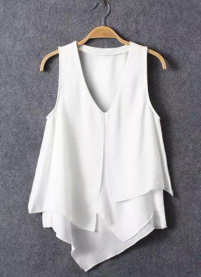Breif Sleeveless Plunging Neck Flounced Spliced Chiffon Women's Blouse - WHITE L
