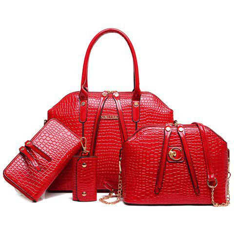 Fashionable Crocodile Print and Zip Design Tote Bag For Women - RED
