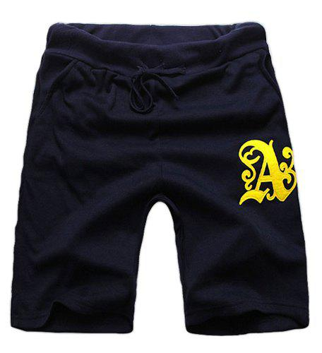 Loose Fit Stylish Lace-Up Ethnic Letter Patched Straight Leg Polyester Shorts For Men - L DEEP BLUE