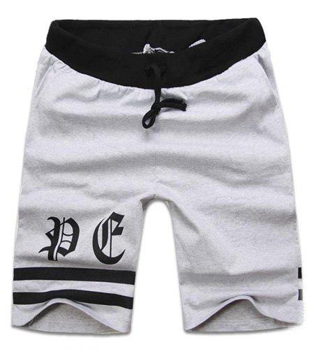 Fashion Lace-Up Stripe Print Color Splicing Loose Fit Straight Leg Men's Polyester Shorts - GRAY XL