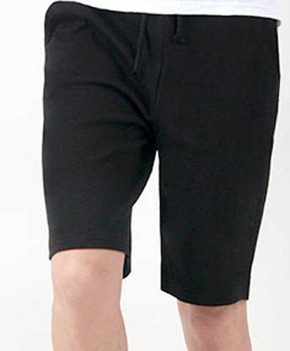 Fashion Lace-Up Solid Color Loose Fit Straight Leg Men's Polyester Shorts - BLACK XL