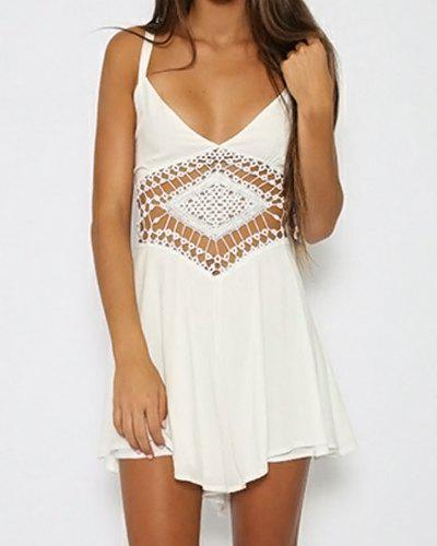 Stylish Spaghetti Strap Sleeveless Hollow Out Solid Color Women's Romper - WHITE S