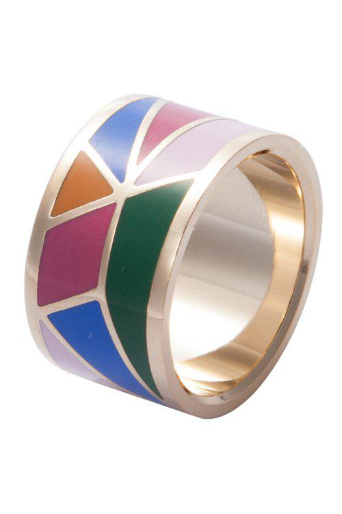 Wide Round Geometric Print Ring - GOLDEN 17