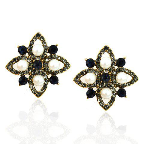 Pair of Beads Faux Pearl Floral Earrings - AS THE PICTURE