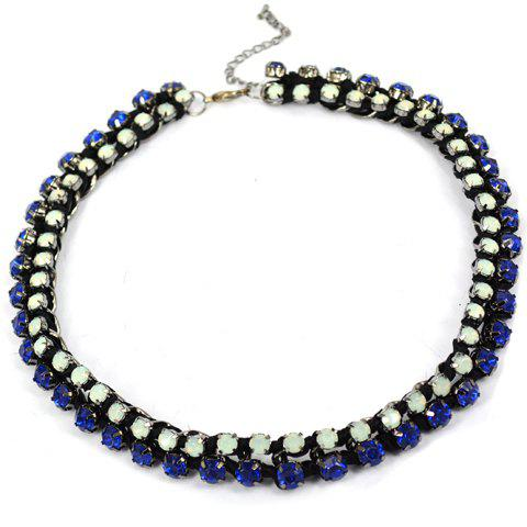 Rhinestone Layered Braided Necklace For Women - BLUE