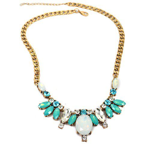 Colored Rhinestone Cute Ellipse Necklace For Women - WHITE