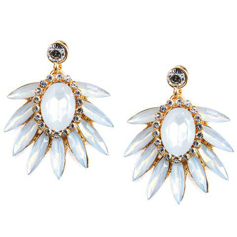 Pair of Faux Gem Beads Leaf Earrings - WHITE
