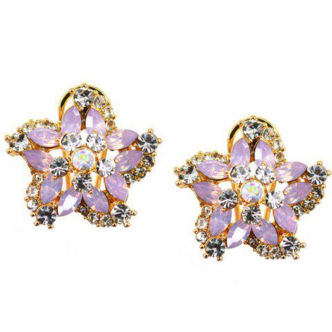 Pair of Luxury Faux Gem Flower Earrings For Women - PINK