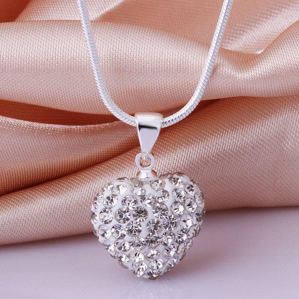 Rhinestone Heart Shape Romantic Necklace For Women - WHITE 1.5*1.4CM